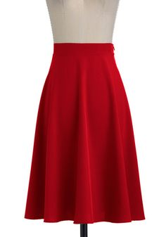 Vacation Day Skirt in Red - Long, Red, Solid, A-line, Jersey, Fit & Flare For Dr. Billeaux?