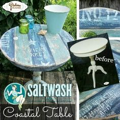 DIY Weathered Patina and Faux Planks for a Coastal Table Makeover... http://www.completely-coastal.com/2016/11/diy-weathered-patina-faux-planks-table.html