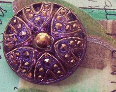 Purple and Gold Czech Glass Button