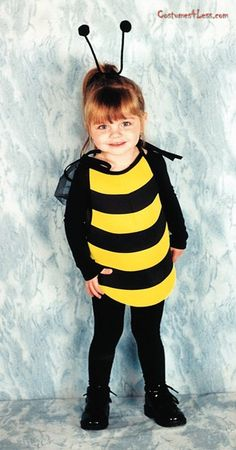 The My First Bee Toddler Costume consists of a simple, thin, light-weight foam black and gold bumble bee body cover, wings and head band with pom-pom. Black turtle neck shirt and tights leggings not included. Your pretty little bee will love to fly around in this sweet outfit!