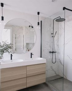 Bathroom design trends - Marble Bathroom With Wood Grain Modern Bathroom Bathroom Renovations Small Small Renovations Walk In Shower Wet Room Set Up Latest Bathroom Designs, Modern Bathroom Design, Bathroom Interior Design, Modern Marble Bathroom, Bathroom Design Layout, Modern Bathroom Lighting, Bathroom Mirror Lights, Tile Layout, Mirror Vanity