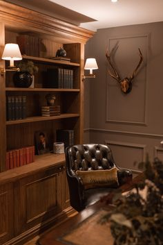 Guest House Cottage, Solid Oak Bookcase, Partners Desk, Home Office Design, Cool Furniture, Shelves, Traditional, Chair, Interior