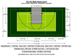 Sports court sports court and a multi court dimensions for Sport court size