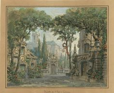 """Set design (1883), by Philippe Chaperon (1823-1906), for """"Saute, marquis!"""" (1883), by Paul Cressonnois (1849-1904)."""