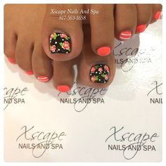 Pretty pedicure, the flowers look like decals, but the combo of the flowers with the white dots is nice. I would keep it uniform and make all of the toenails black- maybe put the white polka dots on the other toes as well :)
