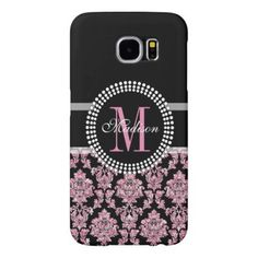 Girly Pink glitter and black Damask Monogrammed Samsung Galaxy S6 Case - personalize gift idea diy or cyo