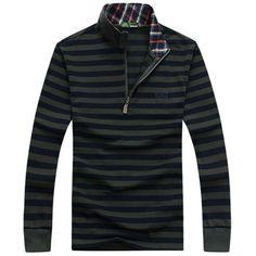 Fall Winter Mens Stripe Colors Stand Collar Zipper Long Sleeve Polo T-shirts - Gchoic.com