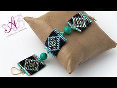▶ Video creazioni #33: Bracciale e orecchini con perline - square stitch, herringbone, raw - YouTube