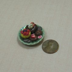 Miniature Dollhouse China Plate with Sweets by beadcharmed on Etsy, $6.00