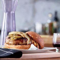 Barbecue-Glazed Turkey Burgers-so yummy. Added sautéed shoestring onions. Delish!