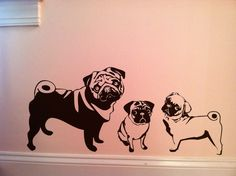 Paintings Of Pugs | Tiptoethrough: A family of pugs and a little dude on his dirt bike ...