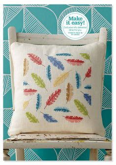 Floating Feathers Cross Stitch Kit: Angela Poole's chic cushion design comes in chunky evenweave Cross Stitch Cushion, Cross Stitch Bird, Cross Stitch Designs, Cross Stitching, Cross Stitch Patterns, Embroidery Art, Cross Stitch Embroidery, Embroidery Patterns, Stitch Magazine