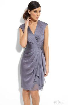 Fashion V-neck Pick-up Knee-Length Ruched Mother of The Bride Dress