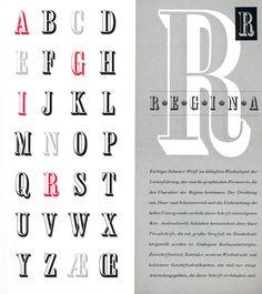 Seite aus der Festschrift »100 Jahre Berthold« 1958, Schrift: »Regina« von Günter Gerhard Lange  Die Schrift »Regina« (Schriftguss) wurde von Günter Gerhard Lange 1954 entworfen.