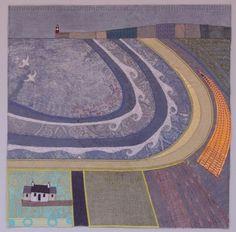 Beach Road Croft map art quilt by Deborah Lee.
