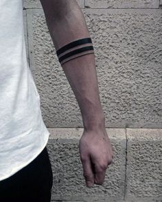 Mens Two Black Band With Thin Solid Line Tattoo On Forearm #maoritattoosband