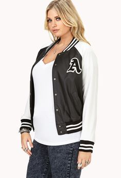 Too Cool Faux Leather Varsity Jacket | FOREVER21 PLUS - 2000092142