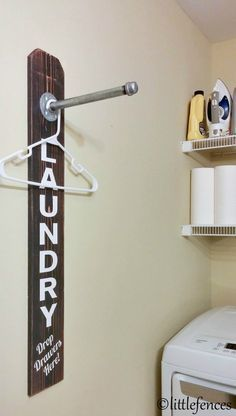 Clothing Rack, Pipe Rack, Industrial Decor, Laundry Room Decoration, Galvanized Decor, Laundry Rack, Rustic Laundry Sign, Wood Clothing Rack by LittleFences on Etsy