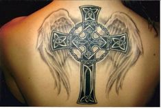 Various Sizes of Back Tattoo Ideas for Men: Amazing Celtic Cross With Fading Wings Back Tattoo Ideas For Men ~ Back Tattoos Inspiration