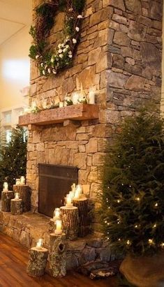 Beautiful Rock Stone Fireplaces Ideas For Christmas Decor 26 Fireplace De. - Beautiful Rock Stone Fireplaces Ideas For Christmas Decor 26 Fireplace Decor 33 Beautiful Ro - Stone Fireplace Decor, Cabin Fireplace, Christmas Fireplace, Farmhouse Fireplace, Fireplace Mantels, Christmas Lights, Farmhouse Decor, Christmas Decor, Fireplace Ideas