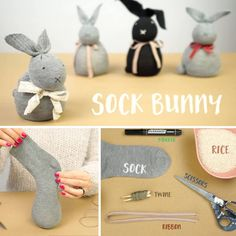 This fantastic no-sew sock bunny by Handimania is a great way to bond and make memories with the kids. No special materials or skill required - check it out! Rabbit Crafts, Bunny Crafts, Easter Crafts For Kids, Spring Crafts, Holiday Crafts, Crafts To Sell, Easy Crafts, Diy Niños Manualidades, Sock Bunny