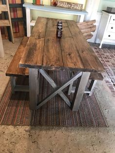 Rustic Wooden Farmhouse Table Set with Provincial Brown Top and Classic Gray Bas. Rustic Wooden Farmhouse Table Set with Provincial Brown Top and Classic Gray Base Criss Cross Style Includes Two Ben Rustic Kitchen Tables, Farmhouse Kitchen Tables, Rustic Table, Wooden Tables, Diy Table, Diy Dining Room Table, Kitchen Table With Bench, Dining Area, Farmhouse Table With Bench