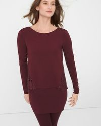 Lace-Inset Knit Top