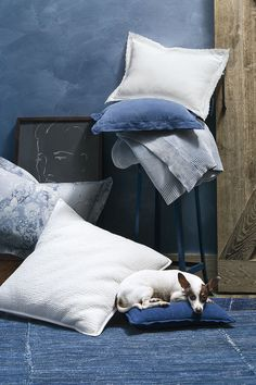 Ralph Lauren Home blue and white throw pillows from the Indigo Montauk bedding collection
