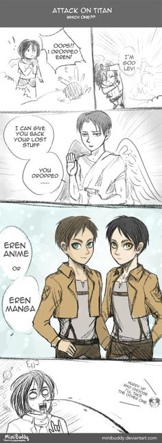 """WHICH ONE?! aot IM DYING GOD LEVI XD^^^^""""I'll take the other one"""" what is Levi planning on doing with the other Eren? o.O xD"""