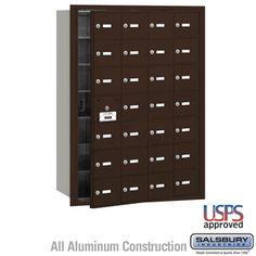 28 Door (27 Usable) 4B  Horizontal Mailbox Bronze Front Loading A Doors USPS Access