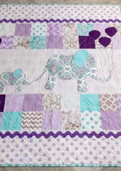 Elephants Modern Baby Quilt Baby Blanket Teal by TheQuirkyQuiltr