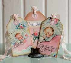 Your place to buy and sell all things handmade Vintage Nursery Decor, Chubby Babies, New Baby Girls, Vintage Ephemera, Pink Girl, Pink Roses, Vintage Designs, Gift Tags, Baby Shower Gifts