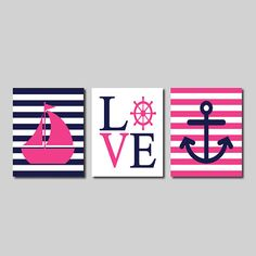 Nautical Wall Art Sailboat Love Captains Wheel Anchor Navy Hot Pink Set of 3 Prints Modern Boy Nursery Kids Bathroom Bedroom Decor Picture on Etsy, $30.00