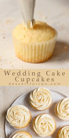 Wedding Cupcake Recipes, Almond Wedding Cakes, Homemade Cupcake Recipes, Wedding Cakes With Cupcakes, Baking Recipes, Cookie Recipes, Cupcake Cakes, Vanilla Cupcake Recipes, Unique Cupcake Recipes