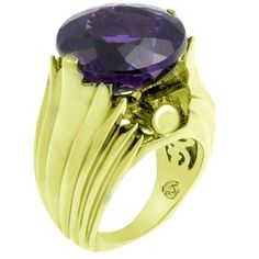 M2 by M.C.L Ethelfleda Brass Ring hand-set with 17.35 ct of handcut synthetic Amethyst plated with 18K gold.