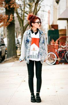 "oversized jean jacket - ""clope"" sweatshirt - black skinny pants - creepers"