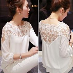 shirt embroidery Picture - More Detailed Picture about 2015 New Summer Plus Size Blouse Women Casual Chiffon Lace Blouse Loose Stitching Lace Long Sleeve Ladies Shirt Blusas Picture in Blouses & Shirts from ShejoinSheenjoy Bodycon Store Top Fashion, Fashion Design, Fashion Women, Street Fashion, Fashion Outfits, Mode Top, Chiffon Shirt, Lace Chiffon, Mode Inspiration