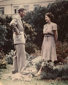 shewolfofengland: ♕ Queen Elizabeth II (then Princess Elizabeth) talking with her father King George VI in That autumn, Prince Philip proposed but the king did not want to lose his daughter, so he asked her to announce the engagement after her birthday.