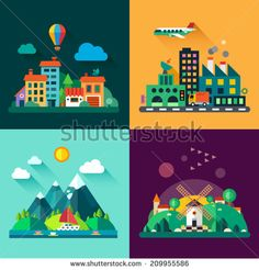 Color vector flat icon set and illustrations urban and village landscapes: nature, mountains, lake, boating, vacation, sun, trees, house, mills, field, city, factory, pollution, cars, skyscrapers - stock vector