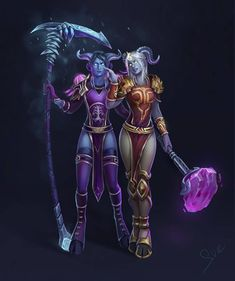 Draenei sisters by Svelien on DeviantArt Draenei Female, Wow Draenei, Draenei Paladin, World Of Warcraft Game, Warcraft 3, Fantasy World, Fantasy Art, Fantasy Warrior, Character Modeling