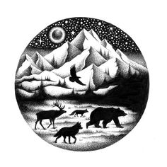 THE JOURNEY - Limited Edition signed Art Print by Thiago Bianchini Dotted Drawings, Cool Art Drawings, Pencil Art Drawings, Animal Drawings, Art Sketches, Stylo Art, Stippling Art, Scratchboard Art, Geometric Nature