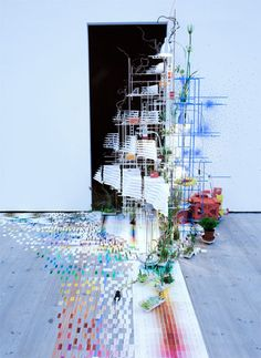 Sarah Sze. Tilting Planet. Love all the complex angles and motion here. It would be fun to see this in person, wouldn't it?
