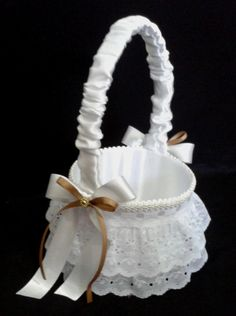 CE_53 Cesta Blanco Dorado # bodas para arras anillos o petalos