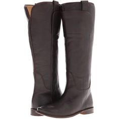 Frye Paige Tall Riding (Dark Brown Calf Leather) Women's Pull-on Boots ($194) ❤ liked on Polyvore featuring shoes, boots, brown, knee-high boots, knee high boots, pull on boots, frye boots, knee boots and slip on boots