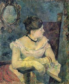 Paul Gauguin.  Porträt der Mme Gauguin im Abendkleid. 1884, Öl auf Leinwand, 65 × 54 cm. Oslo, Nasjonalgalleriet. Synthetismus. Frankreich. Postimpressionismus.  KO 01445