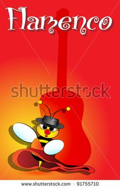 Flamenco Spanish bee dancing with guitar on background, card from Spain by MilaCroft, via ShutterStock