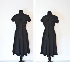 Vintage 1950s Dress - Black Full Skirt Fitted Franklin Originals Day Dress - Medium