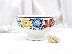 Antique French Ceramic Hand Painted  Café au Lait Coffee Bowl, French Country Decor, Rustic, Vintage Home Interior, Digoin, Cottage, Chateau by VintageDecorFrancais on Etsy