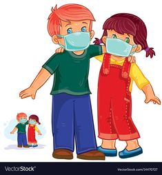 Vector Little Boy And Girl In Medical Masks Protection From Gri