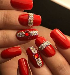 I would do these at Christmas time so pretty! | nail art ideas | unas | @pelikh_Маникюр | Видео уроки | Art Simple Nail